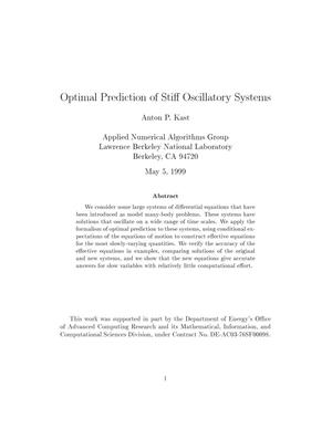 Primary view of object titled 'Optimal prediction of stiff oscillatory systems'.
