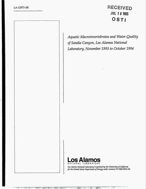 Primary view of object titled 'Aquatic macroinvertebrates and water quality of Sandia Canyon, Los Alamos National Laboratory, November 1993--October 1994'.