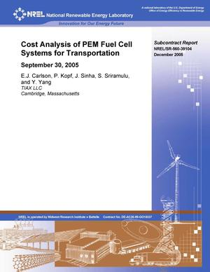 Primary view of object titled 'Cost Analysis of PEM Fuel Cell Systems for Transportation: September 30, 2005'.
