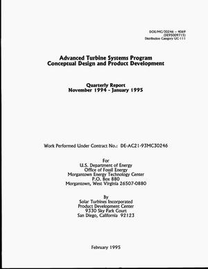 Primary view of object titled 'Advanced Turbine Systems Program conceptual design and product development. Quarterly report, November 1994--January 1995'.