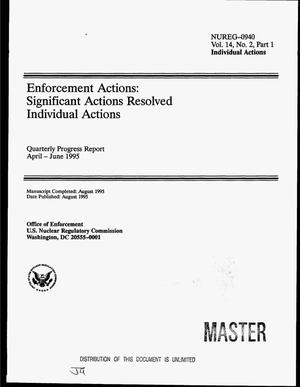 Primary view of object titled 'Enforcement actions: Significant actions resolved. Volume 14, No. 2, Part 1: Individual actions. Quarterly progress report, April--June 1995'.