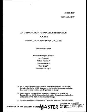 Primary view of object titled 'An introduction to radiation protection for the Superconducting Super Collider'.