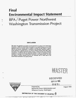 Primary view of object titled 'BPA/Puget Power Northwest Washington Transmission Project Final Environmental Impact Statement.'.