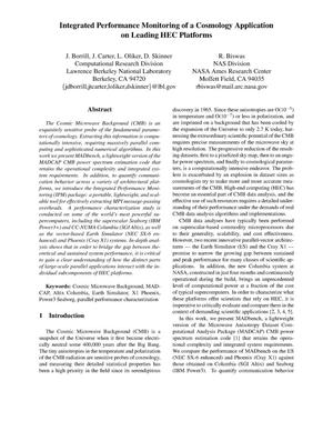 Primary view of object titled 'Integrated Performance Monitoring of a Cosmology Application onLeading HEC Platforms'.