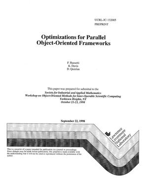 Primary view of object titled 'Optimizations for parallel object oriented frameworks'.