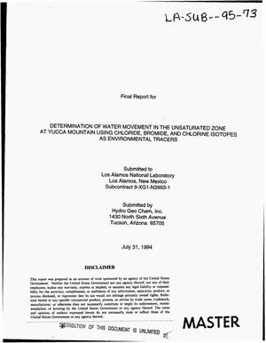 Primary view of object titled 'Determination of water movement in the unsaturated zone at Yucca Mountain using chloride, bromide, and chlorine isotopes as environmental tracers. Final report'.