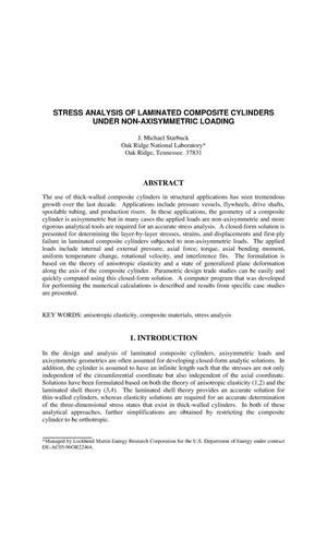 Primary view of object titled 'Stress Analysis of Laminated Composite Cylinders Under Non-Axisymmetric Loading'.