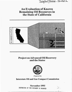 Primary view of object titled 'An evaluation of known remaining oil resources in the state of California: Project on advanced oil recovery and the states. Volume 2'.