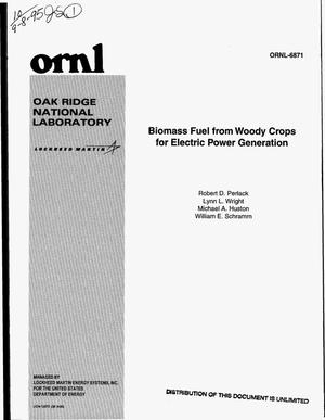 Primary view of object titled 'Biomass fuel from woody crops for electric power generation'.