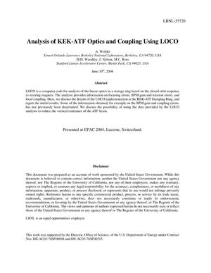 Primary view of object titled 'Analysis of KEK-ATF optics and coupling using LOCO'.