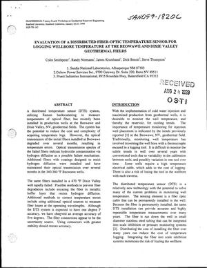 Primary view of object titled 'Evaluation of a Distributed Fiber-Optic Temperature Sensor for Logging Wellbore Temperature at the Beowawe and Dixie Valley Geothermal Fields'.