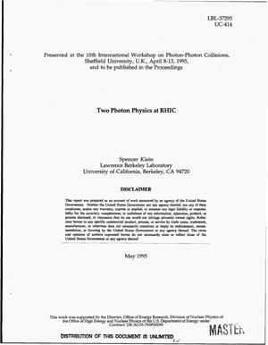 Primary view of object titled 'Two photon physics at RHIC'.