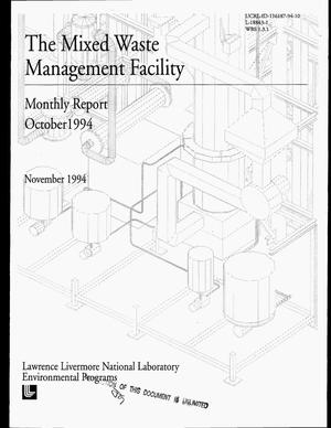 Primary view of object titled 'The Mixed Waste Management Facility monthly report, October 1994'.