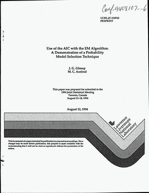Primary view of object titled 'Use of the AIC with the EM algorithm: A demonstration of a probability model selection technique'.