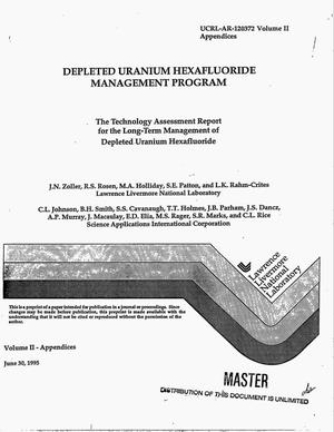 Primary view of object titled 'Depleted Uranium Hexafluoride Management Program. The technology assessment report for the long-term management of depleted uranium hexafluoride. Volume 2'.