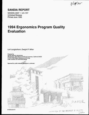 Primary view of object titled '1994 Ergonomics Program Quality Evaluation'.
