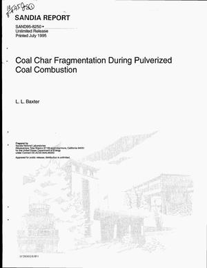 Primary view of object titled 'Coal char fragmentation during pulverized coal combustion'.