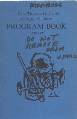 Primary view of object titled 'School of Music Program Book 1970-1971'.