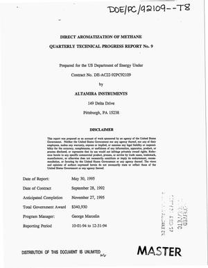 Primary view of object titled 'Direct aromatization of methane. Quarterly technical progress report No. 9, October 1, 1994--December 31, 1994'.