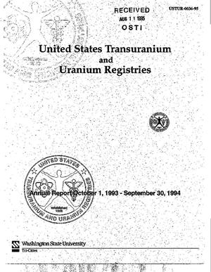 Primary view of object titled 'United States Transuranium and Uranium Registries. Annual Report, October 1, 1993--September 30, 1994'.