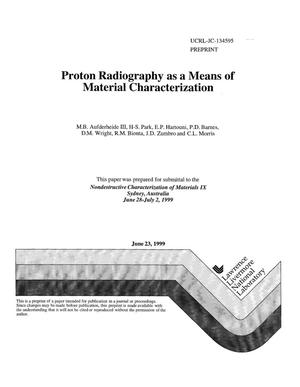 Primary view of object titled 'Proton radiography as a means of material characterization'.