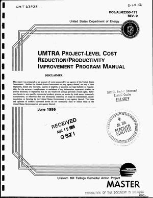 Primary view of object titled 'UMTRA Project-Level Cost Reduction/Productivity Improvement Program manual'.
