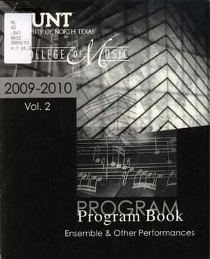 College of Music Program Book 2009-2010: Ensemble & Other Performances, Volume 2