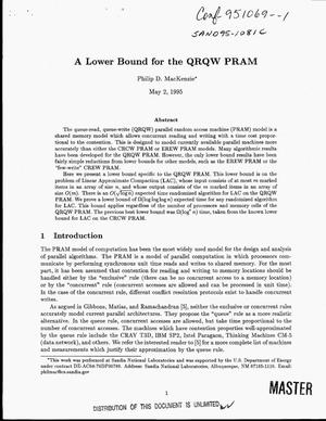 Primary view of object titled 'A lower bound for the QRQW PRAM'.