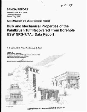 Primary view of object titled 'Bulk and mechanical properties of the Paintbrush tuff recovered from borehole USW NRG-7/7A: Data report. Yucca Mountain Site Characterization Project'.