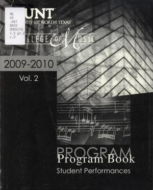 Primary view of object titled 'College of Music Program Book 2009-2010: Student Performances, Volume 2'.