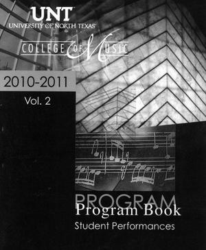 College of Music Program Book 2010-2011: Student Performances, Volume 2