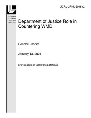 Primary view of object titled 'Department of Justice Role in Countering WMD'.
