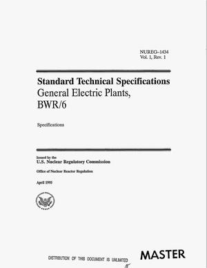 Primary view of object titled 'Standard technical specifications General Electric plants, BWR/6. Volume 1, Revision 1'.