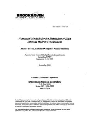 Primary view of object titled 'NUMERICAL METHODS FOR THE SIMULATION OF HIGH INTENSITY HADRON SYNCHROTRONS.'.