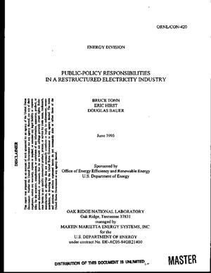 Primary view of object titled 'Public-policy responsibilities in a restructured electricity industry'.