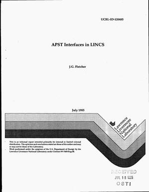 Primary view of object titled 'APST interfaces in LINCS'.