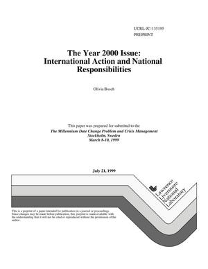 Primary view of object titled 'The year 2000 issue: International action and national responsibilities'.