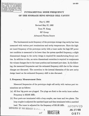 Primary view of object titled 'Fundamental mode frequency of the storage ring single cell cavity'.
