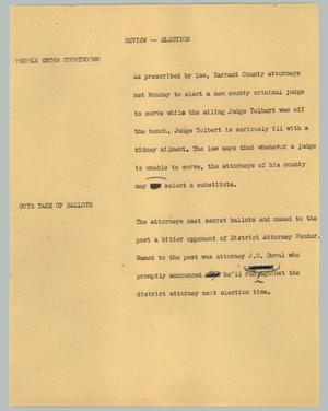 Primary view of object titled '[News Script: Review - Election]'.