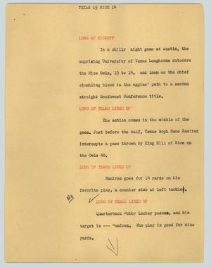 Primary view of object titled '[News Script: Texas 19 Rice 14]'.