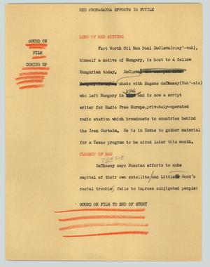 Primary view of object titled '[News Script: Red propaganda efforts are futile]'.
