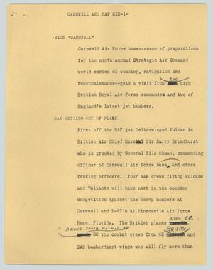 Primary view of object titled '[News Script: Carswell and RAF men]'.