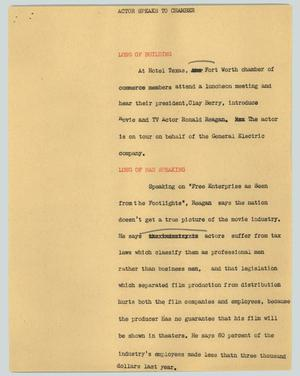 Primary view of object titled '[News Script: Actor Speaks to Chamber]'.