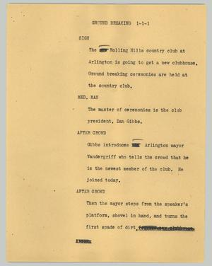Primary view of object titled '[News Script: Ground breaking]'.