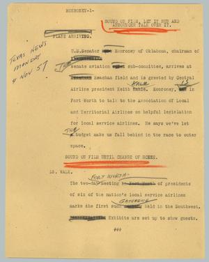 Primary view of object titled '[News Script: Monroney]'.