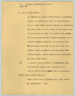 Primary view of object titled '[News Script: School Integration Vote]'.