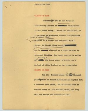 Primary view of object titled '[News Script: Collapsible tank]'.