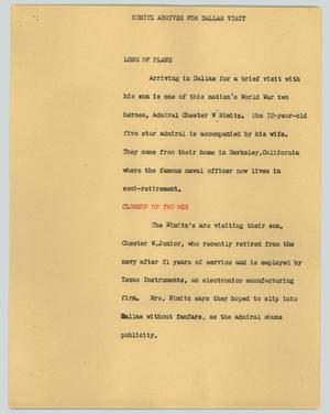 Primary view of object titled '[News Script: Nimitz arrives for Dallas visit]'.
