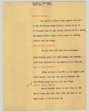 Primary view of object titled '[News Script: Football Highlights]'.