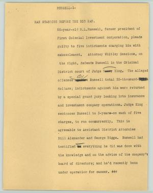 Primary view of object titled '[News Script: Russel Pleads Guilty]'.